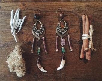 Earthy Gypsy Coyote Tooth Earrings