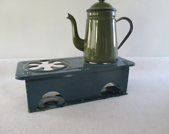 Sterno Kitchenette, Vintage No 46 Blue Enamel 2 Burner Stove Glamping Camping Retro Apartment Kitchen Deck Outdoor Picnic Cooking Hot Plate