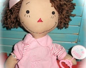 Primitive Raggedy Baby Girl Doll With Rattler FREE Shipping with Coupon