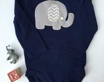 Gray elephant baby onesie/bodysuit, hand sewn applique, baby elephant outfit