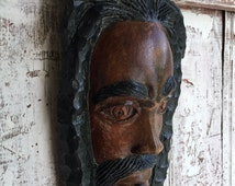 Wooden face vintage Rastafarian wood face with pipe hand carved mask,home decor, Wall Hanging mask, hand carved wooden