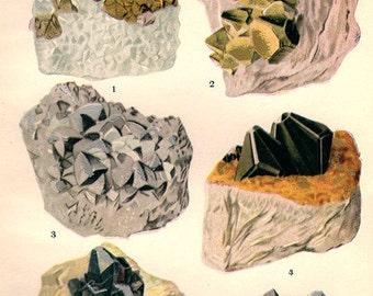 Vintage Antique Print 1911 MINERALS Crystals Prisms Gems Chart 8 precious minerals gem stones illustrations