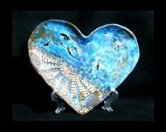 handmade heart platter - ceramic platter, clay serving plate, ceramic heart platter, heart plate,  # 89