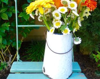 Vintage French Enamelware Jug Bucket Vase Blue White Granite Ware Enamel Milk Pail Vase Utensil Holder
