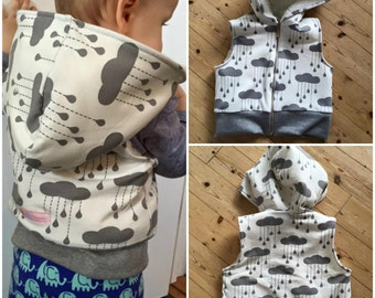 Boy Girl DRAGON Baby Vest sewing pattern Pdf  Hooded Knit Jersey Fleece or Woven, Toddler newborn 3 6 9 12 18 m 2 yr Instant Donwload