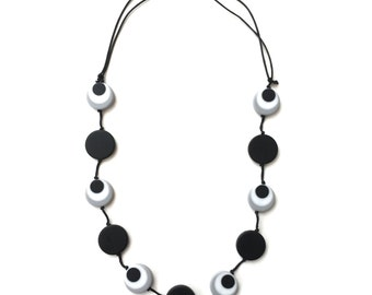Nursing Necklace Babywearing Necklace - Monochrome, Black, Grey, White