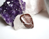 Valentines Day Gift, Red Jasper Necklace, Brecciated Jasper,Sale Dark Red Jasper, Healing Stones, Wire Wrapped Jasper, Rocks and Minerals