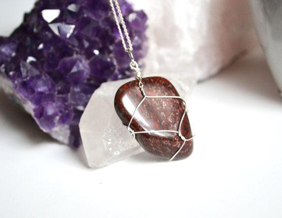 Red Jasper Necklace, Brecciated Jasper, Dark Red Jasper, Healing Stones, Wire Wrapped Jasper, Rocks and Minerals, Gems and Crystals
