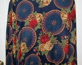 Vintage Ladies Blue Floral Print Blouse by Maggie McNaughton Size 24 Only 6 USD
