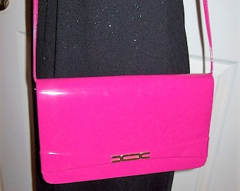 Vintage 1980s Ladies Bright Pink Patent Cross Body Shoulder Bag Only 12 USD