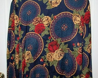 Vintage Ladies Blue Floral Print Blouse by Maggie McNaughton Size 24 Only 8 USD
