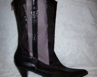 Vintage Ladies Black Leather & Mesh Back Zip Boots by J Renee Size 8 1/2 Only 10 USD