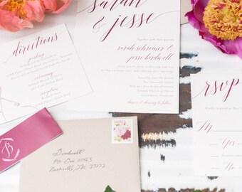 Wedding Invitation Printable, Wedding Invitation, Calligraphy, DIY Invitation, Brush Lettering, Modern Calligraphy Invitation, Boho - #S4