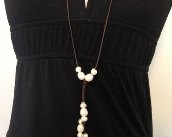 Freshwater Pearl and Leather Tassel Necklace