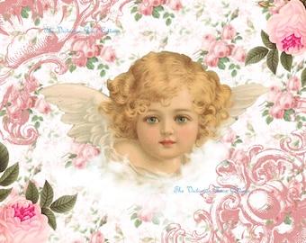 Sweet Shabby Angel-2 Fabric Block - Art Print