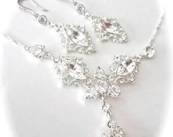 Rhinestone bib necklace and earring set - Brides jewelry set ~ Marquise cut - Wedding jewelry set ~ Crystal jewelry Set~Beautifully detailed