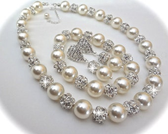 Brides pearl jewelry set  ~ Swarovski pearls and rhinestones ~ Chunky ~ Pearl necklace, earrings and bracelet ~ Statement jewelry ~ LOLITA