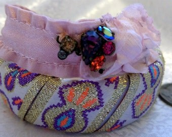 Hot Colors Orange Pink Purple Gold Cloth Handmade Bracelets with Rhinestones