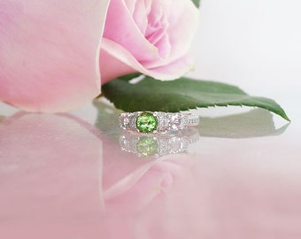 Green Gemstone Wedding Ring, Green Gemstone, Green Tourmaline, Herkimer Diamond, Micro Pave Ring, Mint Green Tourmaline