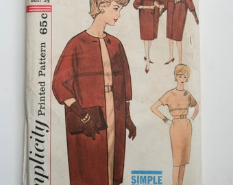 4072 #, Simplicity Pattern, Juniors Misses Coat & Dress, Size 14