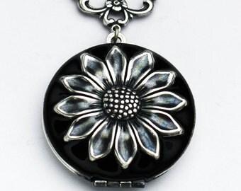 Locket Necklace for Women – Black – Locket Necklace – Round - Sunflower Pendant