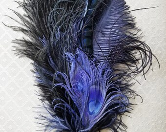 Blue Ostrich/Peacock Feather Hat Pin