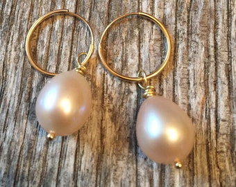 14 K Solid Gold Hoop and Pearl Earrings - 2 earring looks in one- Fine Jewelry Gold - Earrings
