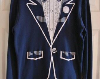 Vintage Novelty Print T-Shirt Tuxedo Long Sleeve Shirt 1980s XL Rock & Roll