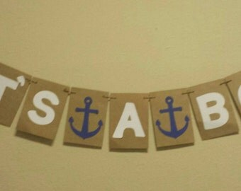 Baby shower Nautical Banner It's A boy or girl decor