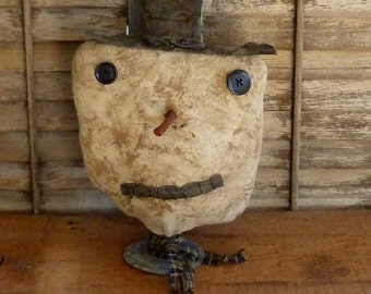 Primitive rag stuffed Snowman Make~do