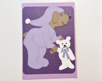 Baby Card, Handmade, Cute, Purple, White Bear, White, Brown, Pajamas, Goodnight, Sweetheart, Heart, Handmade, Die Cuts