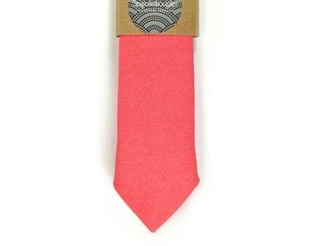 Bright Coral  necktie - coral tie, Wedding Mens Tie Skinny Necktie - Laid-Back necktie