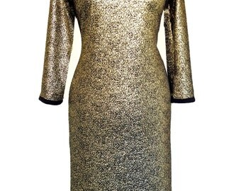 Gold Dress, Plus Size, Evening Dress, Gold prom Dress, Gold Jersey Dress, Gold Classic Dress, Party Dress, Gold and Black