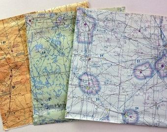 """10"""" x 10"""" Aeronautical Chart Scrap Collage Collection"""