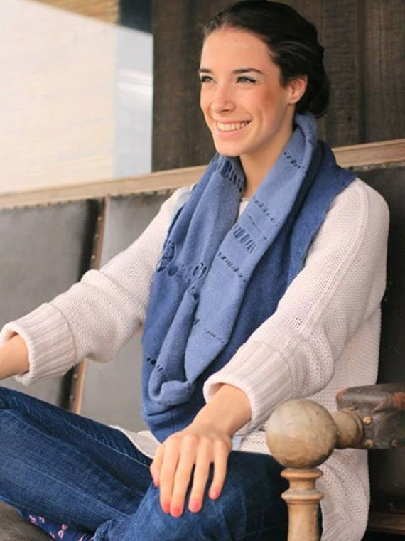 Indigo circle scarf cut out, Infinity Scarf,  Bohemian Chic Ripped Lace, Cowl Wrap Merino wool felt, SALE 40% OFF