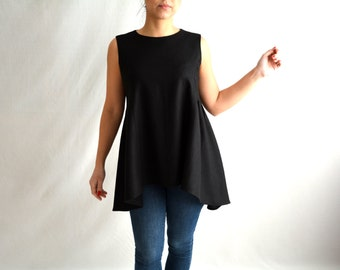 Linen tunic, Black top, Long top, Linen top, Hi low top,Black tunic, Maternity clothes, Womens clothing, Plus size, Oversized tunic,