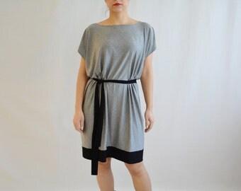 Grey jersey dress, Tunic dress, Color block dress, Tshirt dress, Womens dress, Womens clothing, Jersey tunic, Day dress, Boho dress