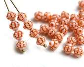 30pc Orange Bicone beads, Czech pressed glass spacers, 6mm bicones - 0334