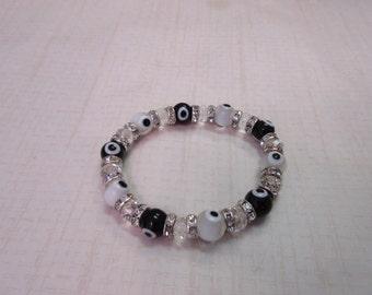 Black, White and clear evil eye beaded bracelet