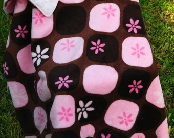 Brown and Pink Minky Baby Blanket