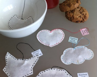 Cat Heart Cloud Dog or Fox Shaped ROOIBOS TEA with VANILLA Bags / Handmade Stitched Tea Samples / Red Tea Individual Bags