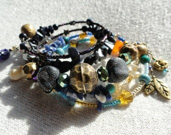 Bronze Age Night and Day Memory Wire Bracelet