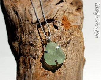 Hawaiian Kauai Aqua Beach Glass Prong Set in 925 Sterling Silver Handcrafted Pendant / Necklace