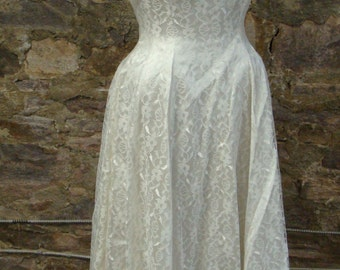 full circle skirt CASUAL WEDDING DRESS vintage lace 1950's 1960's S 2 4 xs