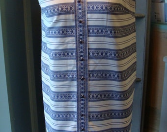 BLUE and WHITE SHIFT dress A-line summer S (A2)