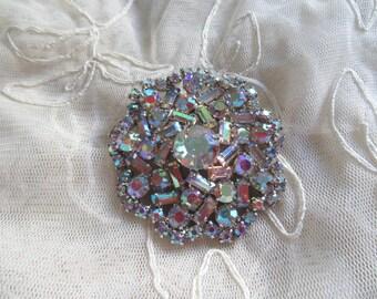 Rhinestone Pin Brooch Mid Century Brilliant Aurora Borealis Snowflake Brooch Vintage Costume Jewelry Holiday MoonlightMartini