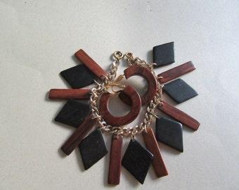 "Mid Century Bracelet Geometric Wood Charm 7"" Smaller Wrist PLUS Wood Bakelite Infused Clip Earrings Vintage Costume Jewelry Fall Colors"