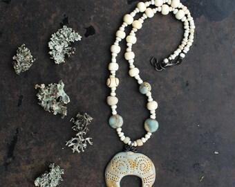 Crescent necklace, blue moon necklace, lunula pendant necklace, rustic short necklace, amulet necklace