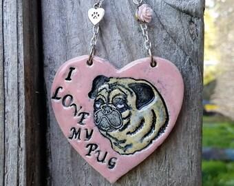 I Love my Pug - Pink Ceramic Ornament