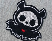 Cute Baby Bat Embroidered Patch Applique Very Gothic Emo Punk